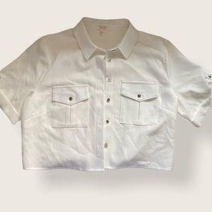 apeach White Cropped Button Down Short Sleeve Top